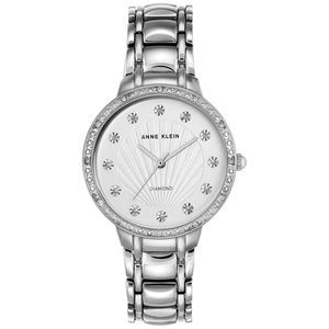 ANNE KLEIN Women's Swarovski Silver-Tone Watch NWT